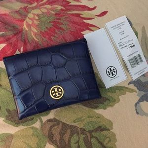TORY BURCH Parker Embossed Fold Card Case $129 NEW